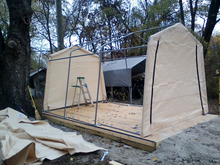 ShelterLogic AutoShelter 1015 Portable Garage with Tan ...